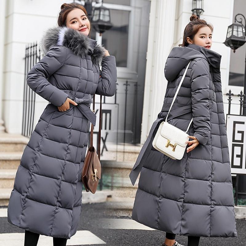 Piumino in cotone ispessito autunno inverno donna Moda Grande collo di pelliccia Cappotti lunghi caldi Cappotto elegante da outwear