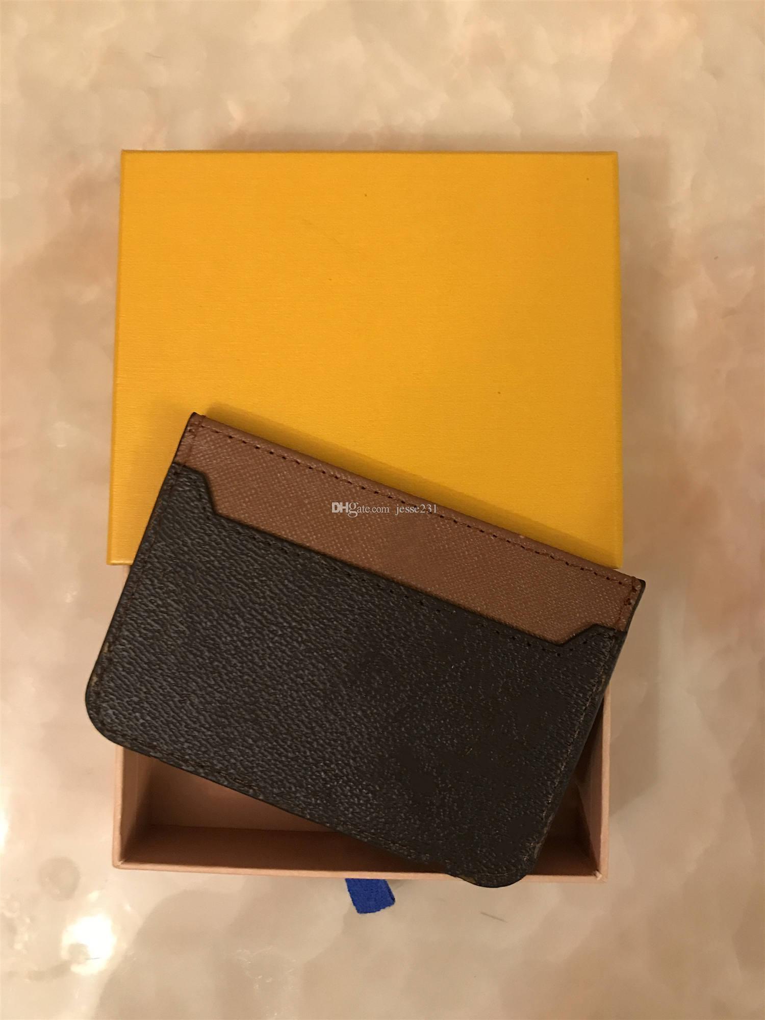 2020 새로운 남성 여성 패션 클래식 브라운 블랙 격자 무늬 캐주얼 신용 카드 ID 용 가죽 케이스 울트라 슬림 지갑 패킷 가방