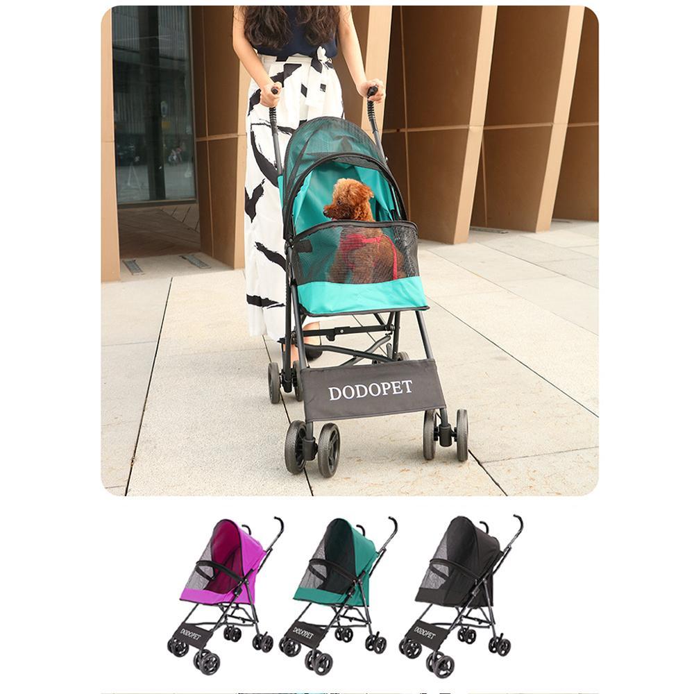DODOPET الحيوانات الأليفة عربة قابلة للطي كلب القط في الهواء الطلق الناقل العربة أكسفورد القماش 4 عجلات العربة التمشي على السفر