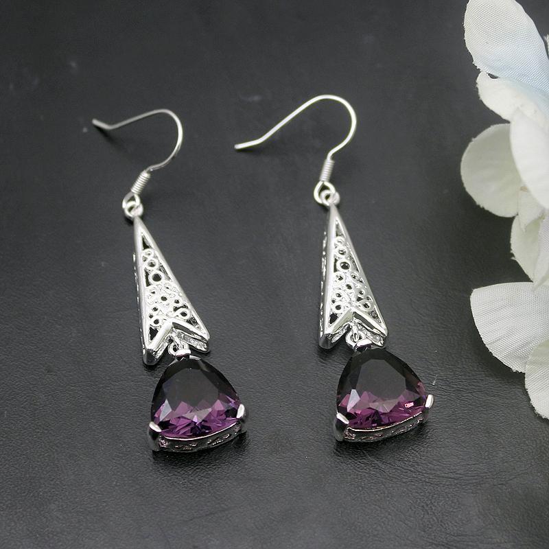 wholesale Royal Fantasy Shiny Purple Amethystt 925 Sterling Silver Earrings For Women Fashion Jewelry 2 1/8 Inch ME005