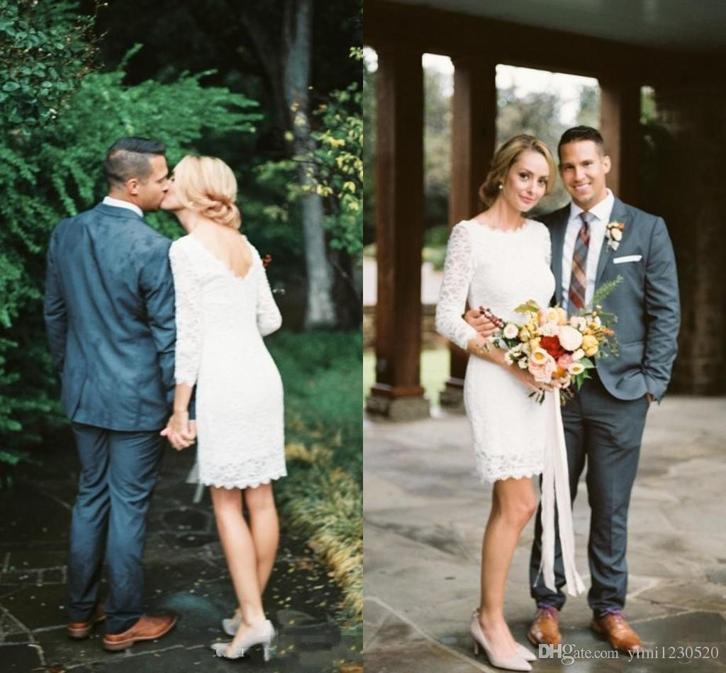 2019 Short Lace Sheath vestidos de novia 3/4 de manga larga sin respaldo Mini Garden Country Beach vestidos de novia robe de mariée personalizado barato