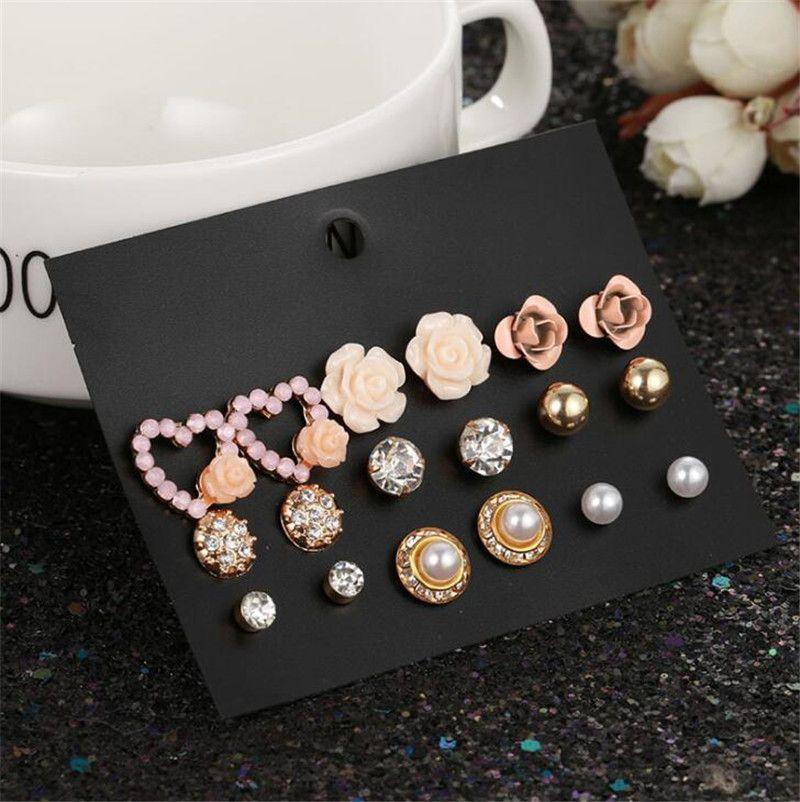 9 Paare / Set Kristallbolzen-Ohrringe Geschenk Blume Neue Strass Nachahmung Perlen-Ohrringe für Mädchen Punk Ohrstecker Pendientes Schmuck-Set