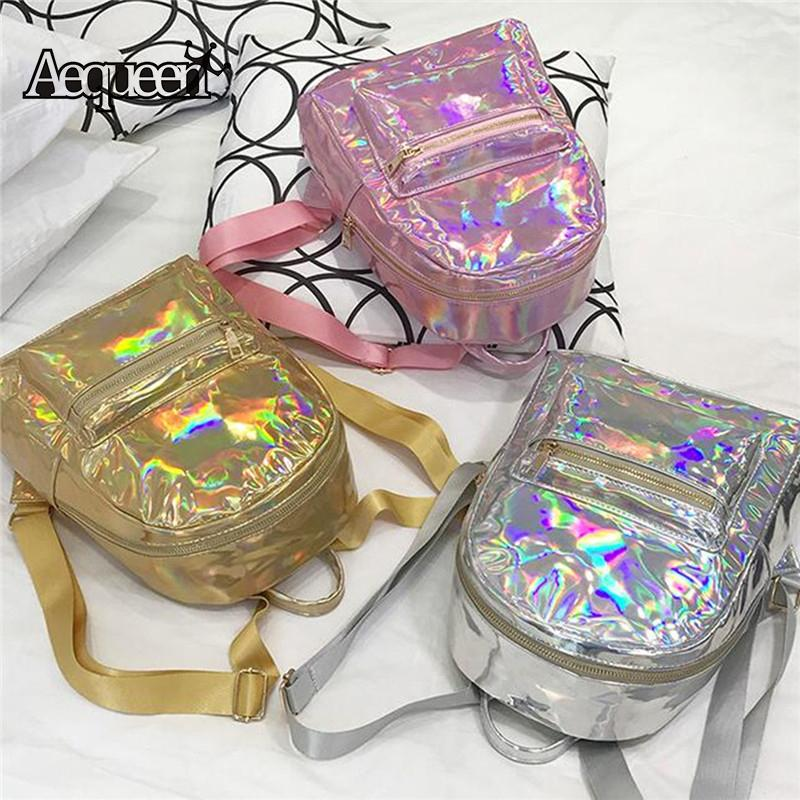 AEQUEEN Silver Hologram Laser Bagpack Women Pink Holographic Backpack Leather Samll Travel School Bag Rucksacks For Teenage Girl Y18110202