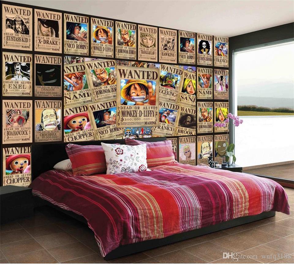 Taille personnalisée 3d photo papier peint murale lit chambre rétro affiche roi Pirate Lufei 3d image canapé TV toile de fond papier peint murale non-tissé autocollant