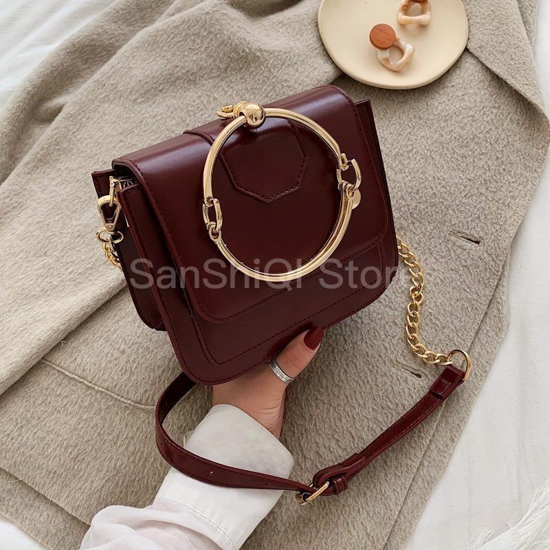 Женщины Винтажной сумки Женской 2019 новые корейские Роскошные цепей мода кольцо ручки Tote Малого квадрат плечо Сумка