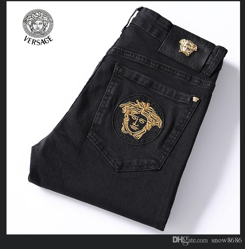 Pantaloni jeans dal design di lusso Distressed Strappato donne sottili del motociclista Jean Uomini Fit Motociclista Denim Jeans Hip Hop Jeans Uomo Size 28-38