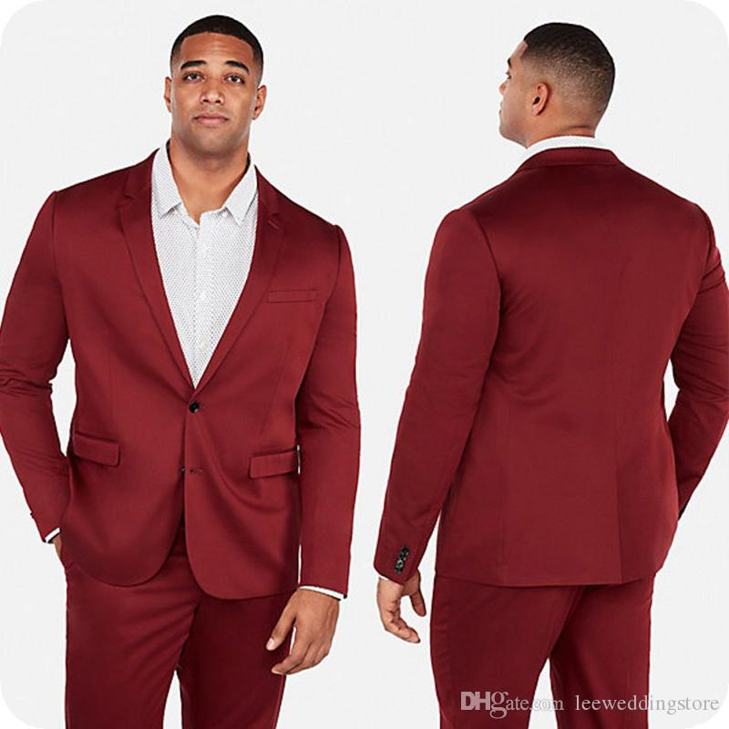Red Men Suits For Wedding Suits Notched Lapel Evening Dress Plus Size Custom Made Bridegroom Tuxedos Formal Groom Wear Best Man Blazer Prom