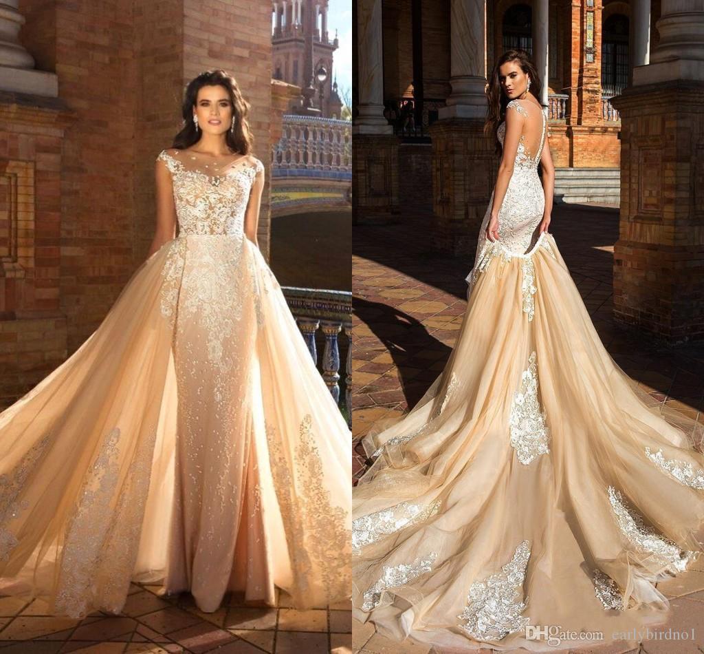 2020 Champagne Lace Appliqud Frisada Sereia Vestido De Noiva Com Trem Destacável Luxo Lace Tulle Plus Size Vestido de Noiva BC2185