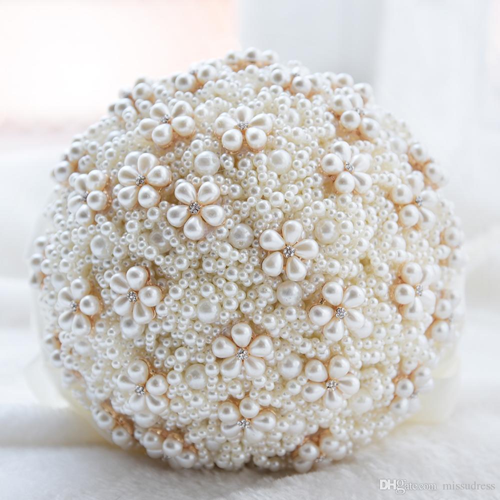 Lüks Inci Düğün Buket 2019 zarif Gelin Gelinlik Çiçekler Yapay Sahte çiçek Ev Dekorasyon Düğün Buket Kadınlar