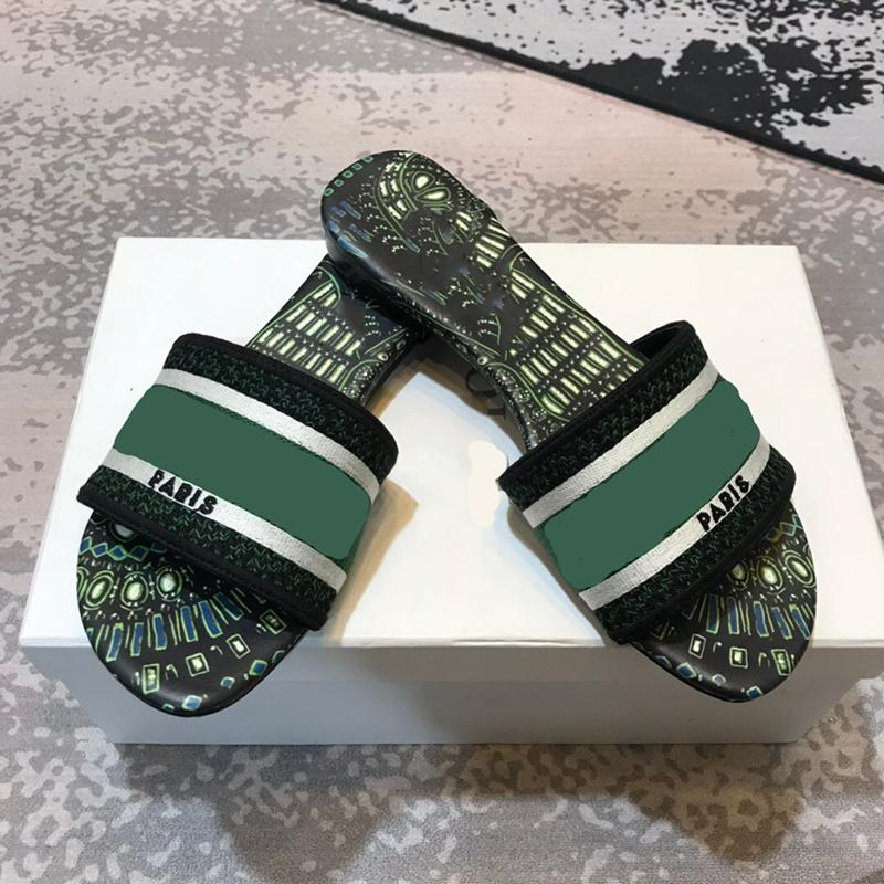Nova Moda Mulheres Mulheres Desenhador Deslizadores OBERTE TOE Impressão Sandálias de Verão Sandálias Flat Flip-Falhas 8 Tamanho 35-42