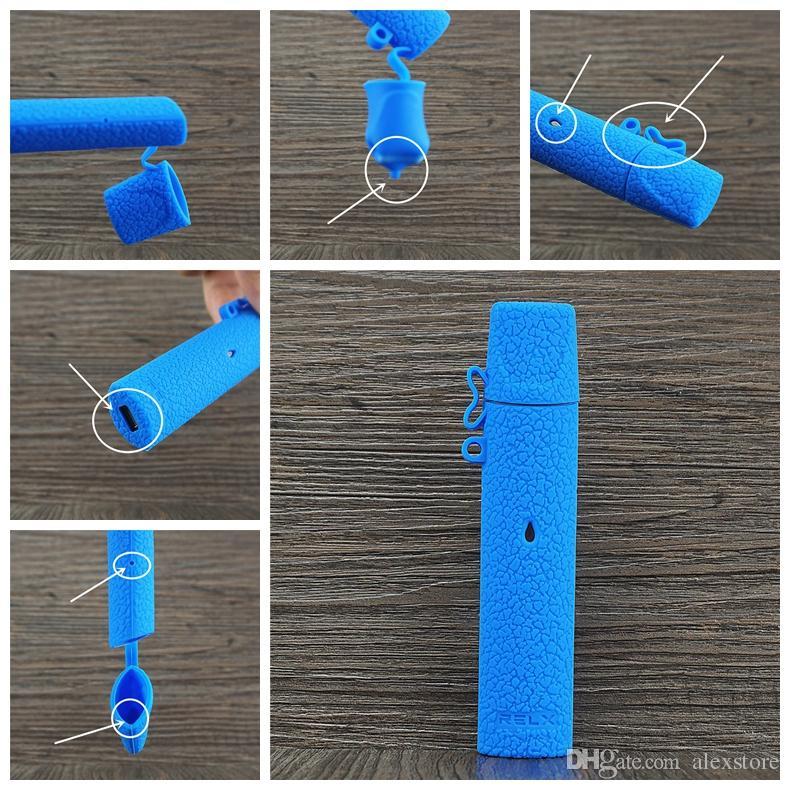 Funda de silicona Relx Funda protectora de silicona suave colorida Funda de piel para kit de inicio Relx Cartucho de batería Pod Vape 12 colores