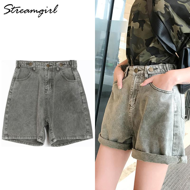 Women Shorts Jeans estate dell'annata Ampia Lege brevi Jeans Taille Haute allentato caffè a vita alta in denim shorts per le donne estate Y200623
