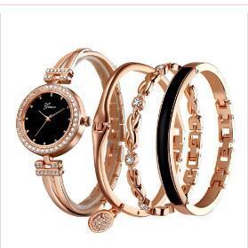 4 PCS fijaron a las mujeres de oro rosa diamante pulsera de reloj de la joyería lujo de las señoras femenina adolescente reloj de pulsera de cuarzo casual WY105