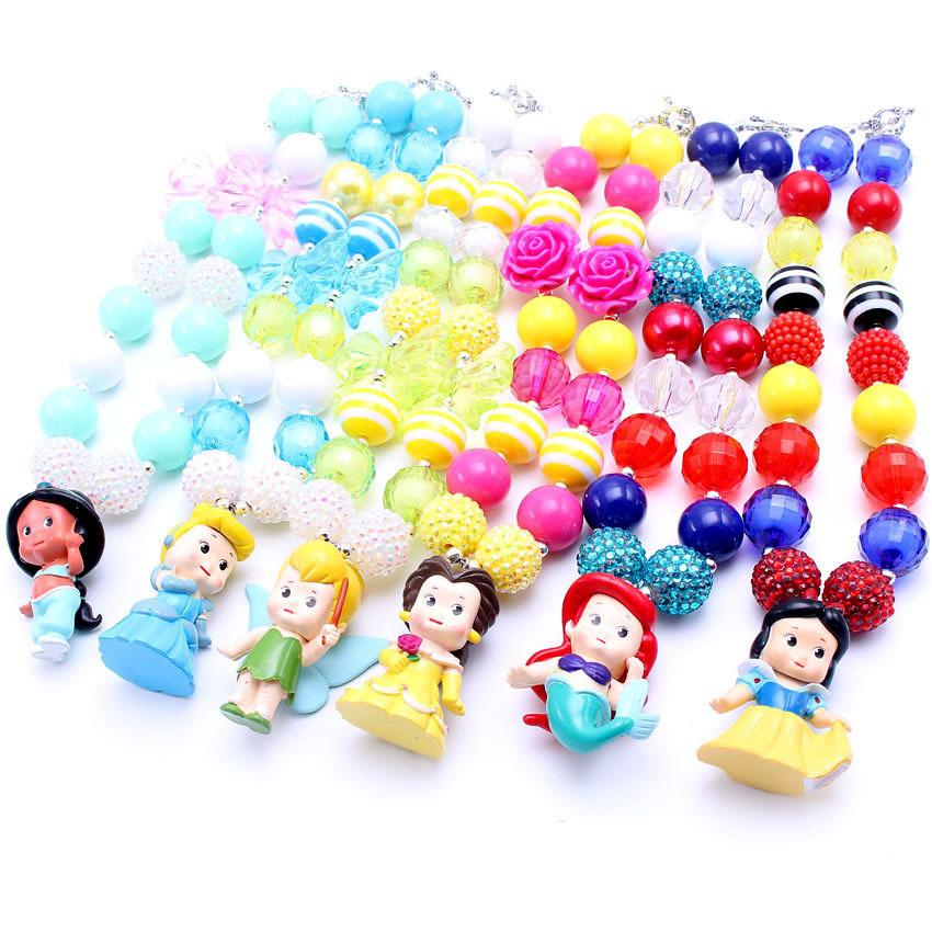 Mhs.sun 6pcs/lot Latest Fashion Princess Chunky Necklace,kids Girls Bubblegum Bead Chunky Necklace Jewelry For Children! Y19050802
