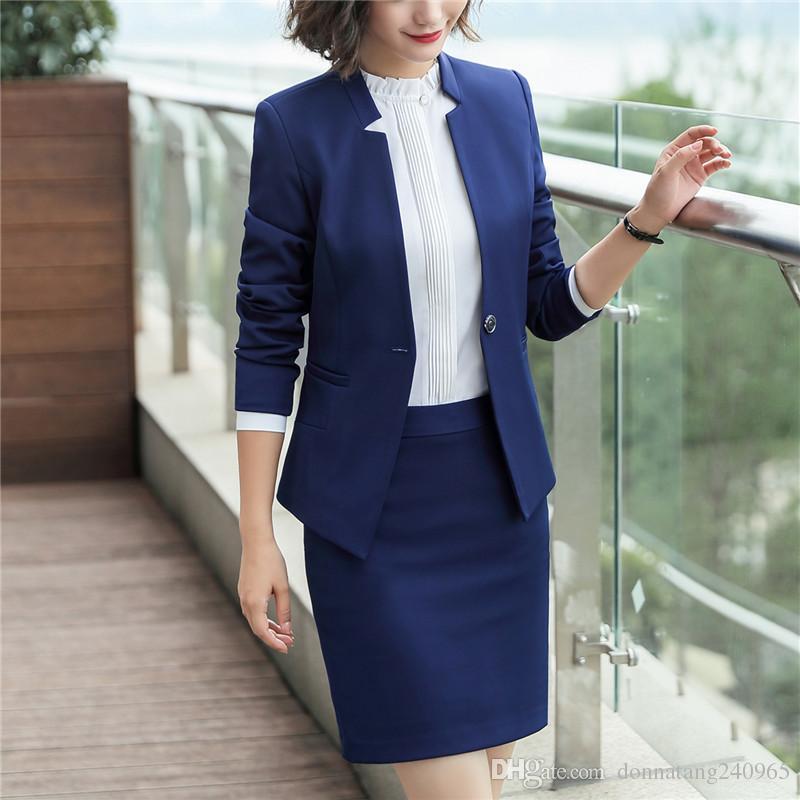 숙녀 싱글 버튼 블레이저 여성 비즈니스 정장 공식적인 사무복 비즈니스 복장 사무복 유니폼 디자인 OL 스타일