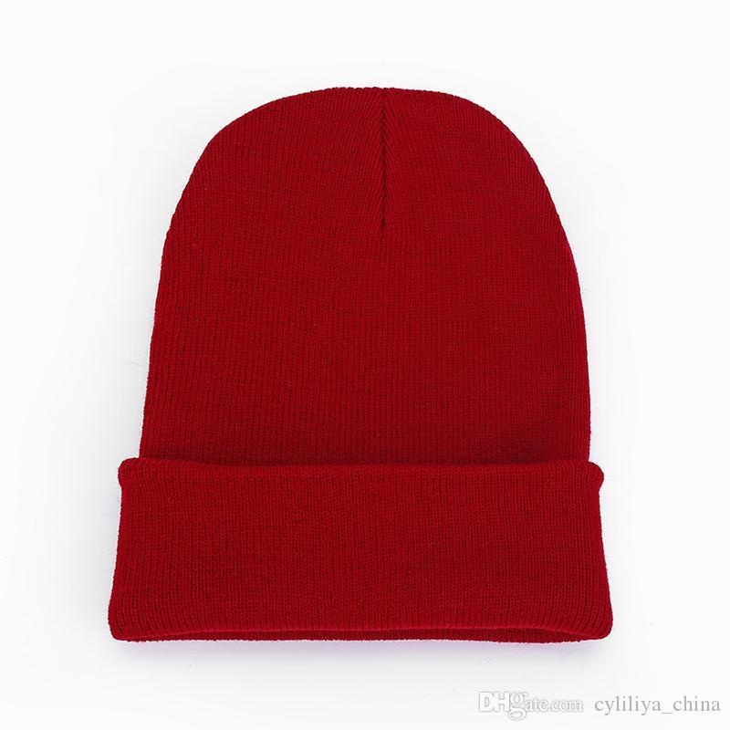 Любители шляпы мужские и женские гладкие вязаные шапки чистый цвет акриловые волокна шерстяная пряжа шапка мягкая удобная без карнизов хип-хоп шляпа