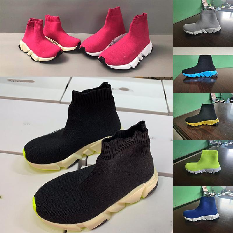 Balenciaga pabucu 24-35 çalışan Stretch Kumaş Ayak bileği çocuklar bot kız okulu ikincilere spor ayakkabı pembe renk moda eğitmenler çocuk ayakkabıları bebekler siyah çorap