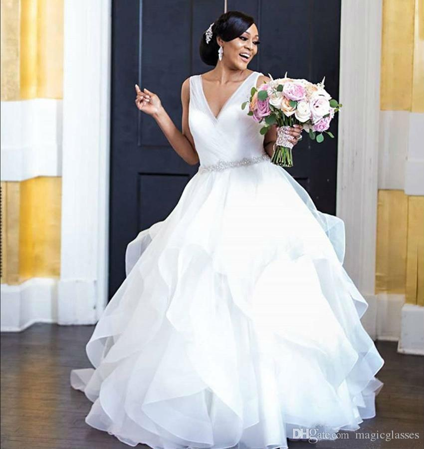 2019 Plus Size Wedding Dresses Elegant South African V Neck Backless Bridal Gowns with Tiered Skirts Custom Made Cheap Wedding Dress