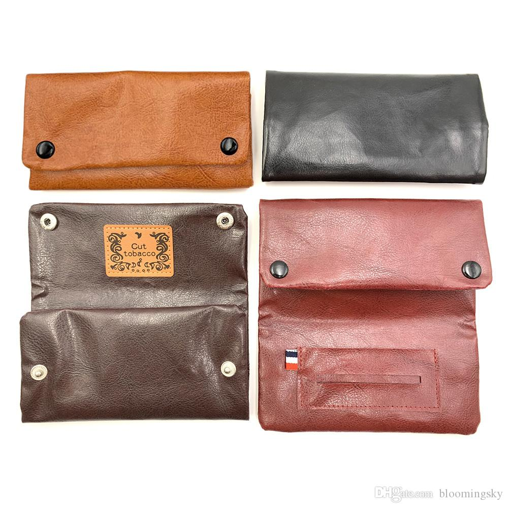 Wholesale PU Leather Tobacco Pouch Multicolor Dry Herb Felt Storage Bag Tobacco Holder Wallet New Arrival Purse Smoking Accessories