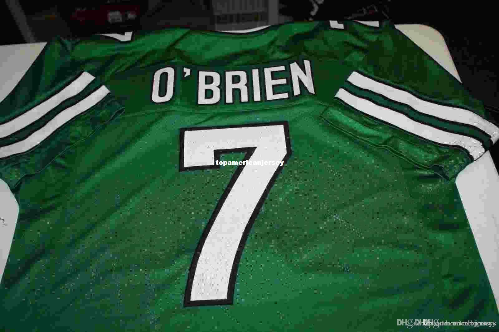 Barato retro # 7 de Ken O'Brien Custom Home MITCHELL NESS Jersey los hombres de costura verde jerseys del fútbol de reproducción