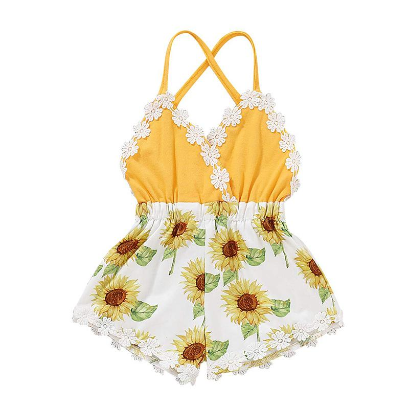 Lovely Newborn Baby Girls Sunflower Romper Bodysuit Jumpsuit Outfit Set Clothes