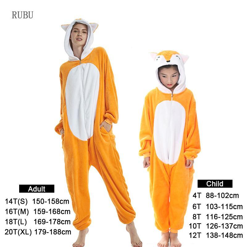 Flannel Kids Pajama Set Winter Animal Adult Unicorn Pajamas For Women Men Warm Pyjamas Kigurumi Onesie Fox Boys Girls Sleepwear J190520
