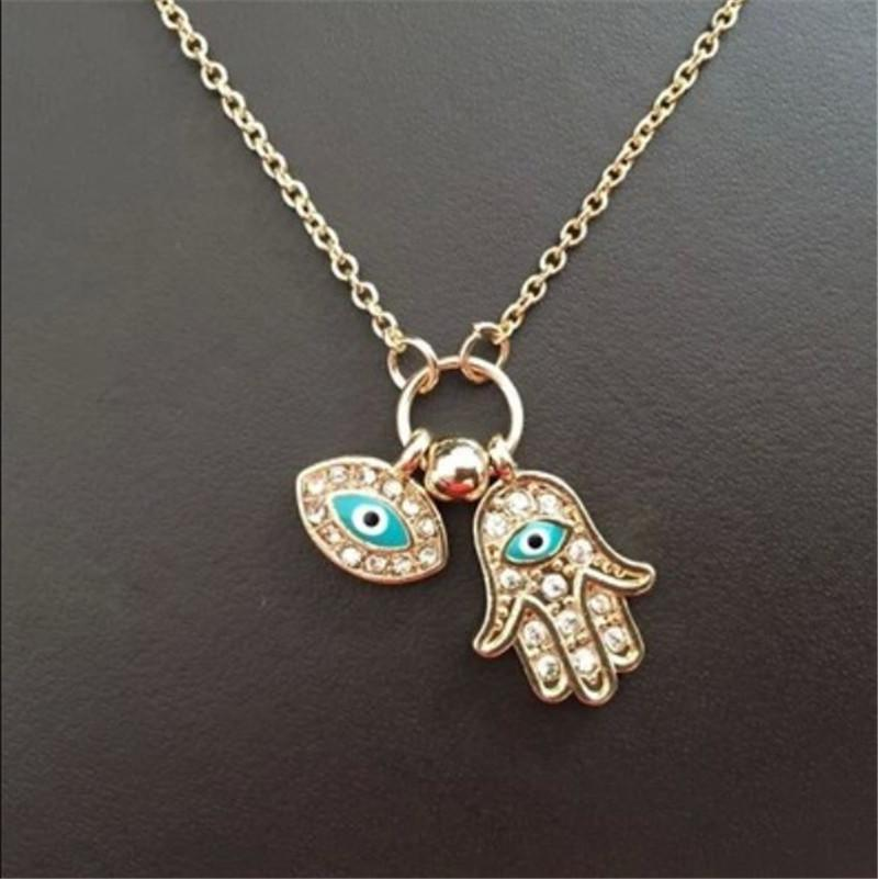 Gold silver Evil Eye Hamsa Fatima Palm Necklace lucky Turkish Kabbalah hand pendants for women best friend best friend gift jewelry