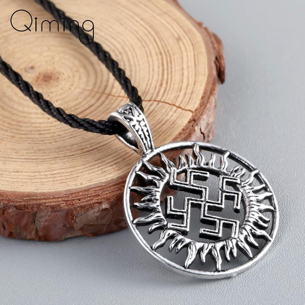 Vichingo Son Of Jewelry Sun Sloar Kolovrat collana slava Amuleto i pendenti per la collana scandinava norvegese rotonda d'argento