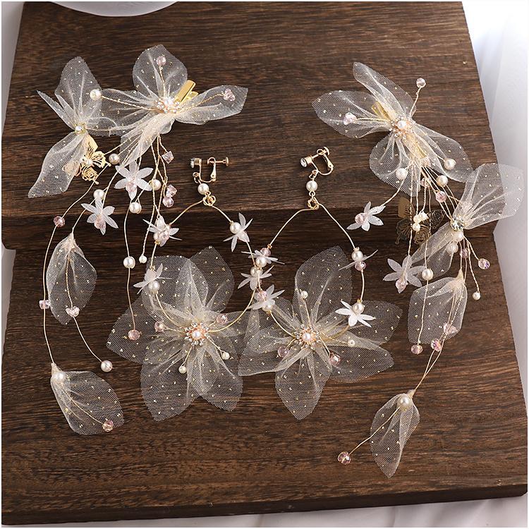 Corea del súper Hada dulce hilo de seda flor de Mori-estilo broches pendientes tocado de la novia de la boda de la horquilla de pelo accesorios
