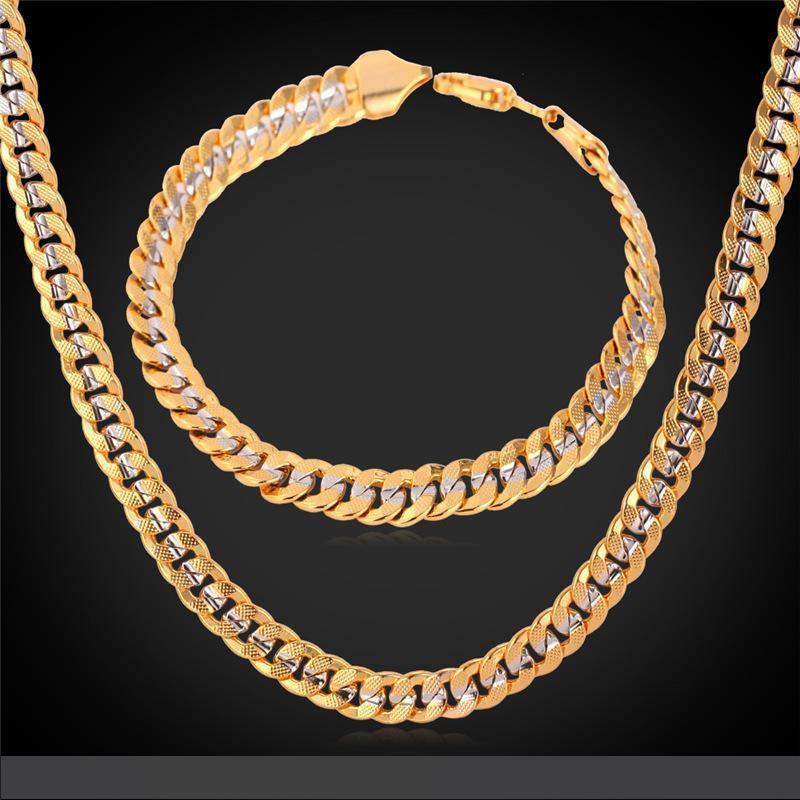 6MM ouro 18k cadeia Stamp Homens Mulheres 18K Two Tone banhado a ouro Curb cadeia Colar Pulseira Set