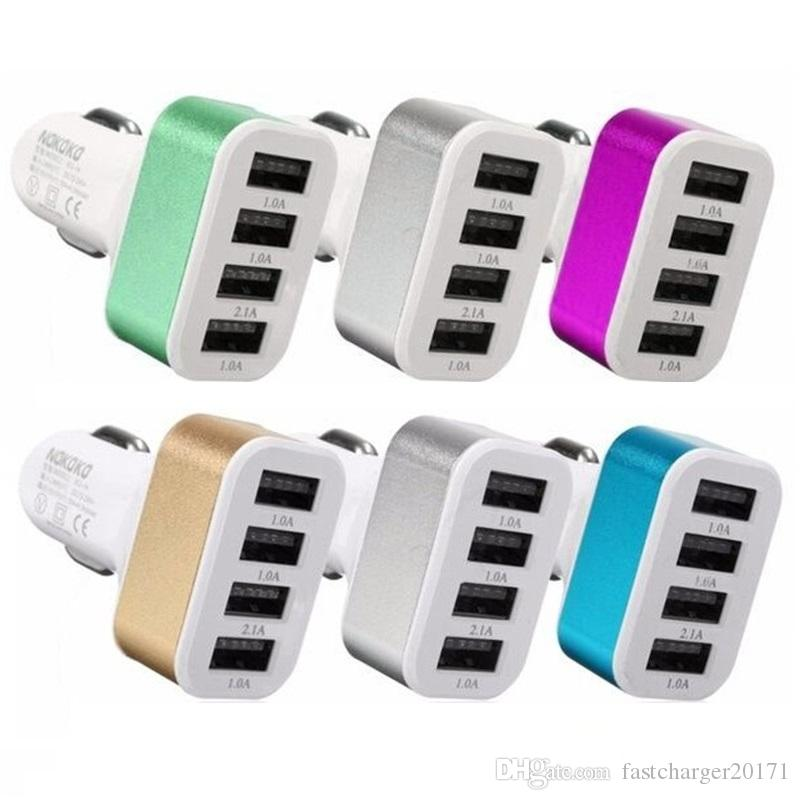 5.1A Car Adapter 4 USB Ports Car Charger adapter For iPhone 5 5S 6 7 Plus for Samsung for ipad htc lg mp3 gps