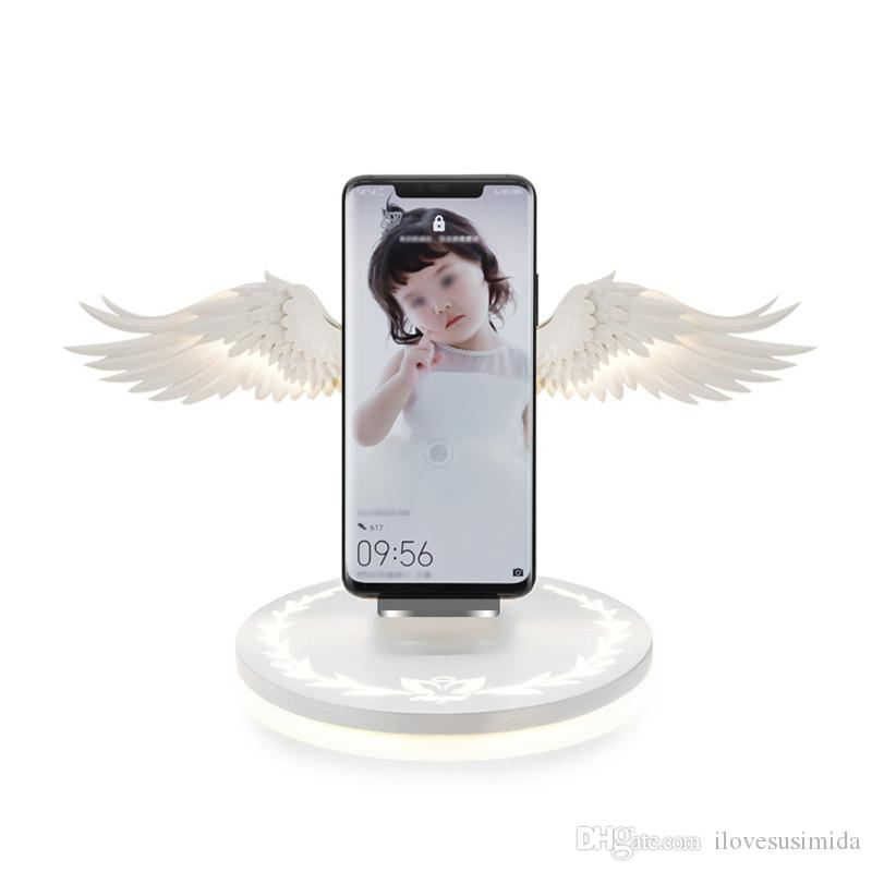 10W Cargador inalámbrico del ala del ángel de carga rápida y soporte para teléfono móvil luz de la noche universal cargador inalámbrico de teléfono móvil para IPhone 8 X XR