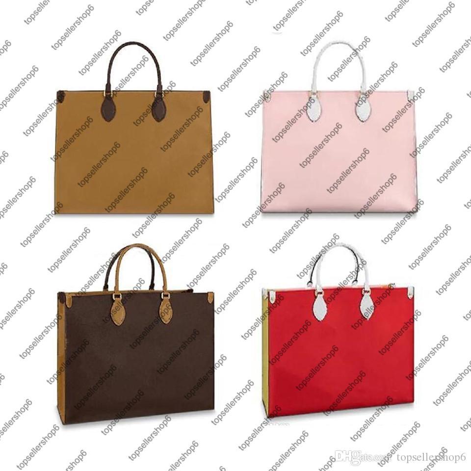 Onthego GM النساء حمل حقيبة حقيبة يد محفظة جلد طبيعي الكتف حقيبة الأعلى مقابض حزام ستوكات بطانة حقيبة تسوق