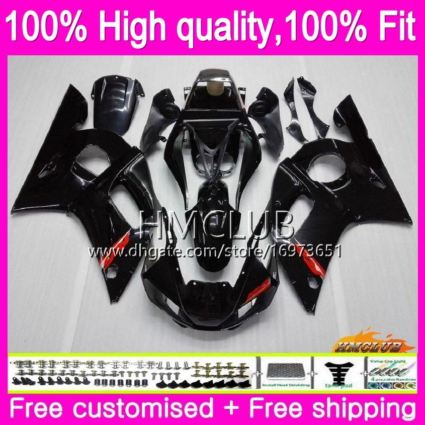 Инъекция для Yamaha YZF R6 R 6 YZF600 YZF 600 YZF-600 80HM.1 глянцевый черный YZF-R6 YZFR6 98 99 00 01 02 1998 1999 2000 2001 2002 OEM обтекатель