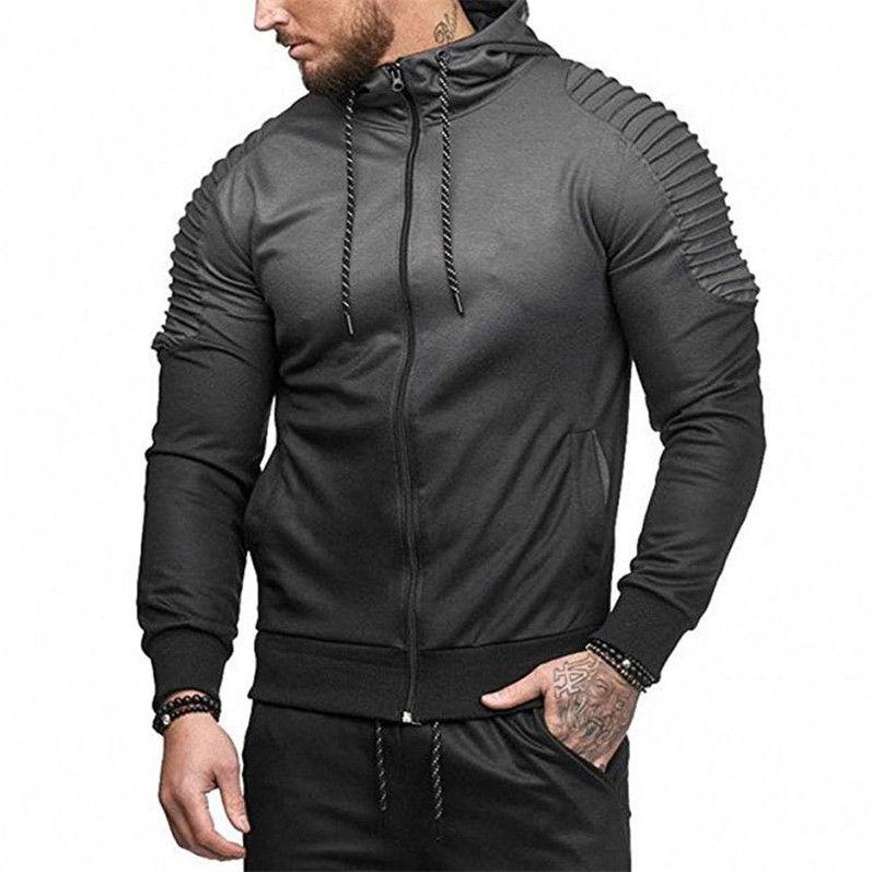 Mode Hommes Printemps Hiphop Survêtements Les sports Casual Hauts rayé Folds Impression 3D Gradient Homme Hoodie à vendre