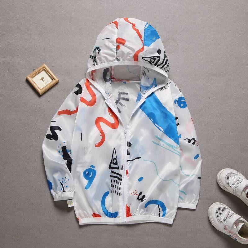 Freizeitkleidung Kinder Kapuzensonnenschutzkleidung Sommer-Herbst-Baby-Mädchen-Thin Suncreen Mantel-Karikatur-Kind-Strand-Sun Jackets