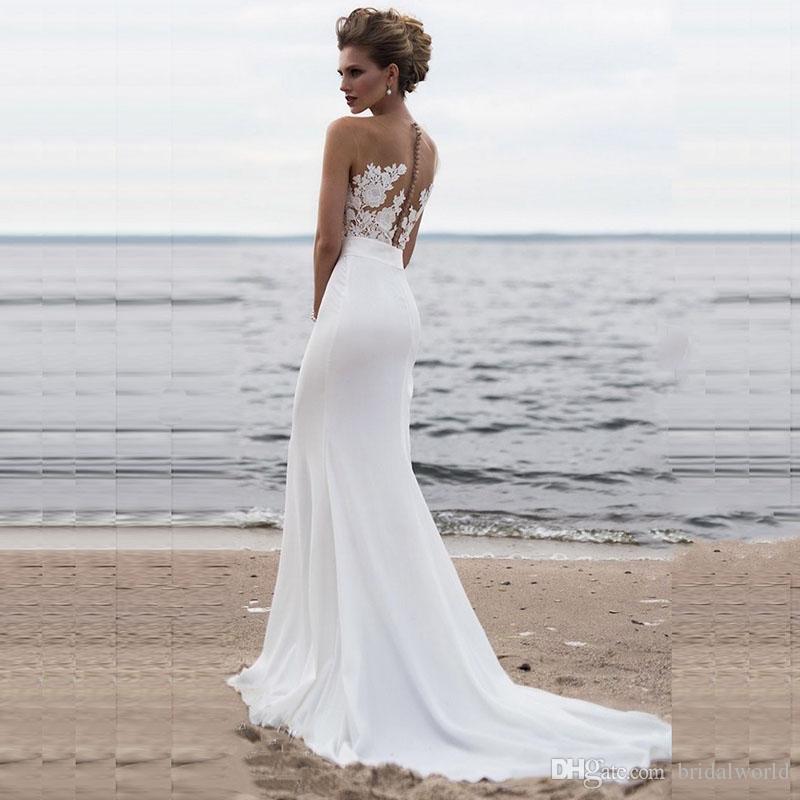 3b9e40d1c ... Vestidos de noche de playa 2019 Boho Mermaid Prom vestido Scoop  apliques de encaje princesa vestido ...