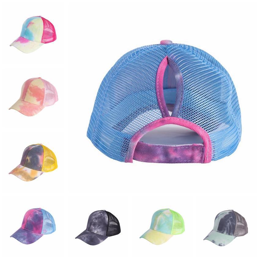 Ponytail Baseball Cap 7 Colors Big Kids Messy Bun Hats Tie Dye Snapbacks Casual Sun Visor Outdoor Hat Tie Dye Ball Caps CCA12272 30pcs