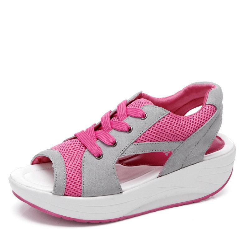 Летняя мода женские сандалии повседневная сетка дышащая обувь женщина дамы босоножки на танкетке кружева сандалии платформы взрывные туфли