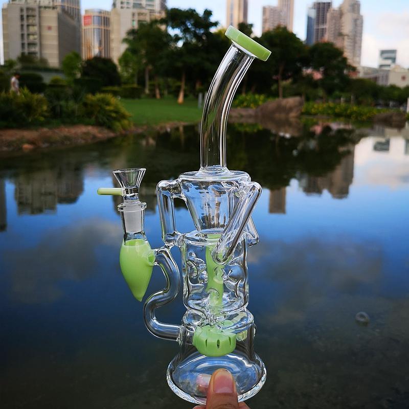 Bent Neck Embouchure verre coloré eau Bong Turbine Perc Double recycleur Huile dab Rigs Fab Egg 14mm Joint Tubes d'eau avec bol