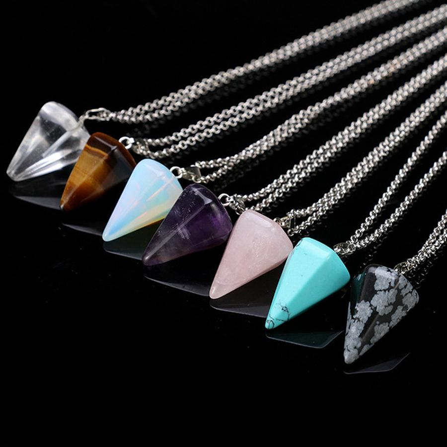 Natural Gemstone Pendant Necklace Crystal Healing Chakra Reiki Silver Stone Hexagonal Prisme Cone Pendulum Charm Necklaces RRA2099