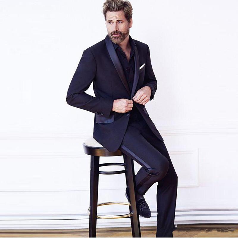 New Groß- und Kleinhandel zwei Knöpfe Groomsmen Schal Revers Bräutigam Smoking Männer Anzüge Hochzeit / Prom Bester Mann Blazer (Jacket + Pants + Tie) 62