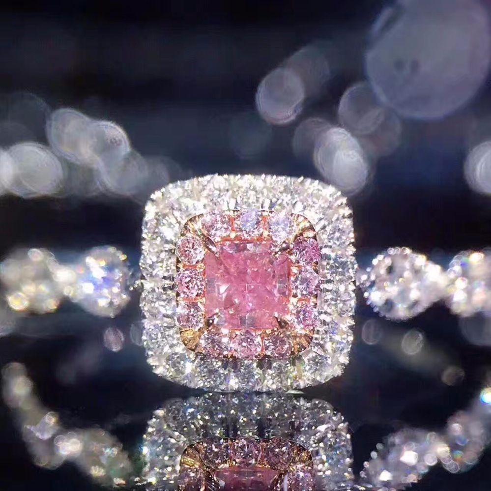 GR.NERH марка ювелирных изделий Серебро Цвет Классический розовый кристалл кольцо Мода коктейль обручальное кольцо для женщин