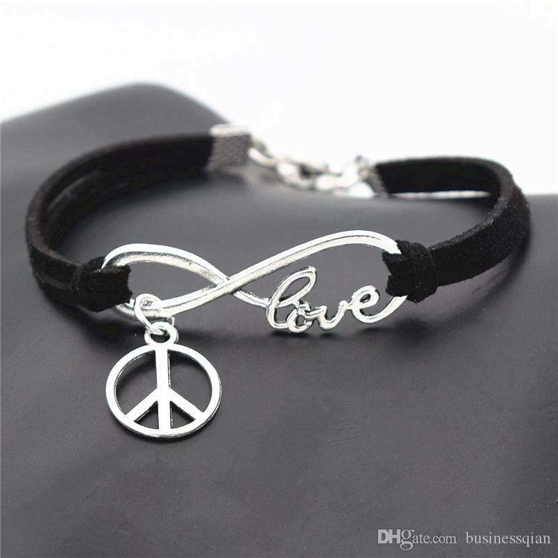 Fashion Causal Antique Silver Peace Symbols Round Cross Charms Pendant Black Leather Suede Bracelet Bangles for Men Women Peace Sign Jewelry