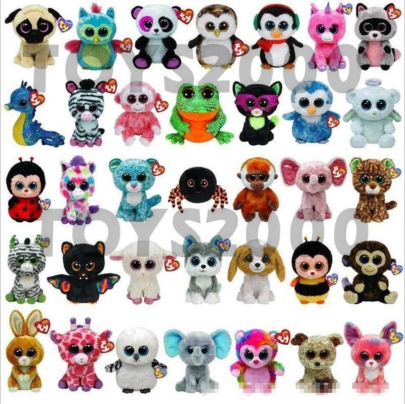 Hot Ty Beanie Boos en peluche Jouets 15cm gros Big Eyes Animaux poupées souples pour les enfants anniversaire ty Cadeaux Jouets X080-1