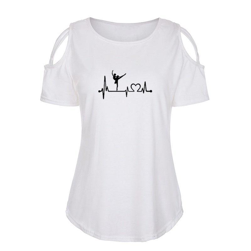 Kadınlar tişört Bale Dans Baskılı Komik tişört O-boyun Pamuk Kısa Kollu 2020 Yaz Casual Tee Gömlek Femme Giyim Tees Tops