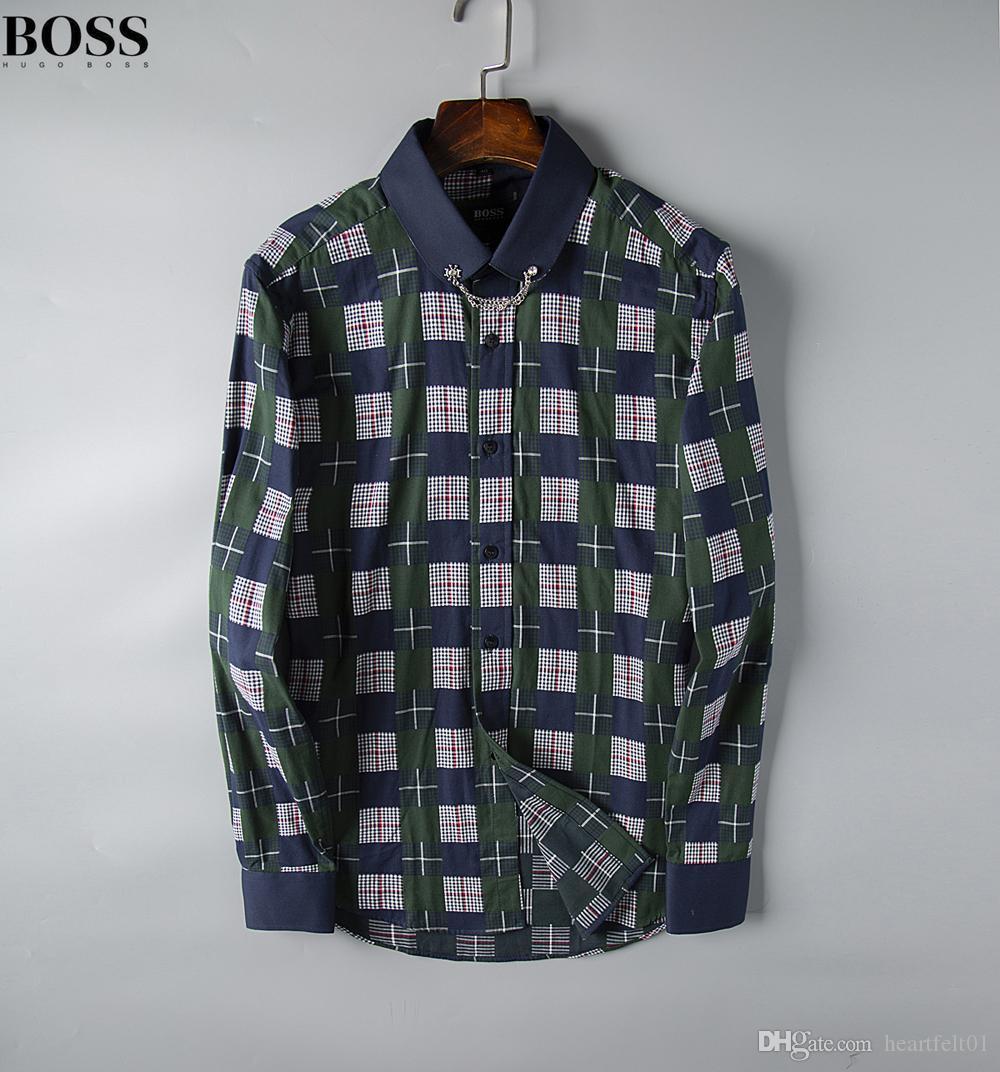 Luxo Mens Designer longos da luva do Firmate vestido negócio camisetas Moda Casual Marca shirt Imprimir Magro Shirt Homme Button Up Tops 190