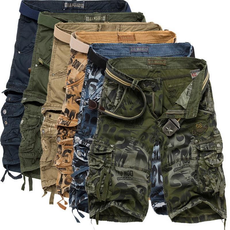 CYSINCOS 2020 Yaz Erkek Kamuflaj Şort Moda Diz Boyu Günlük Kısa Pantolon Taktik Kamuflaj Kargo Şort Şort Masculino Y200519