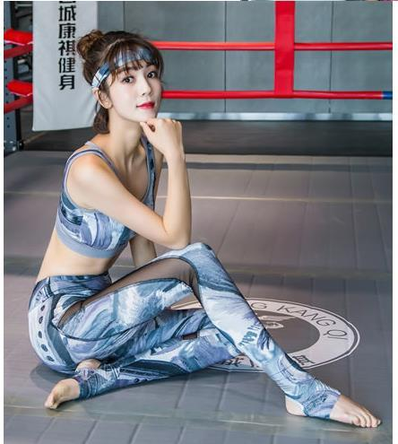 413= yoga sets to 40-90kg womens floral pattern gym pants women chased rose abstract picture bra gray hot pink blue purple woman sports set