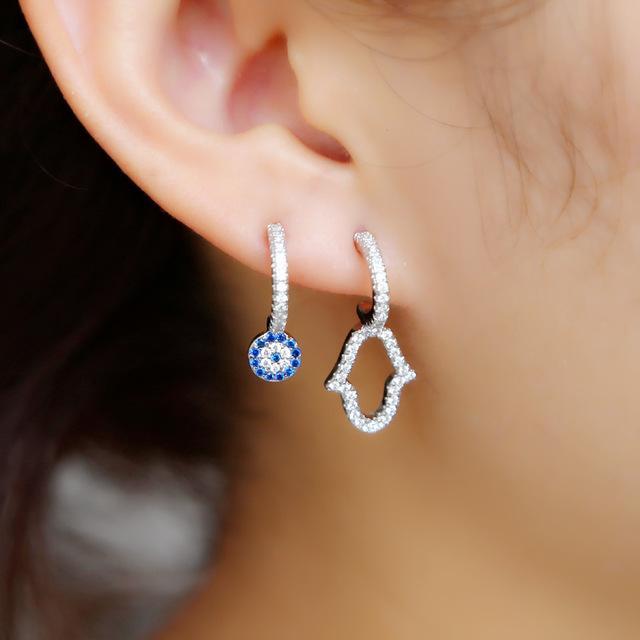 Stud Earrings 2019 Unique design turkish evil eye hamsa hand Stud Earring pave thiy CZ lucky eye cute Girl women danity earrings